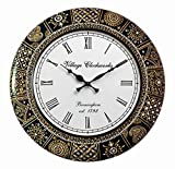 RoyalsCart Floral Design Painting Analog Wall Clock - 18 x 18 Inch,Multicolor