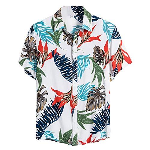 ZHANSANFM Hawaiihemd Herren Baumwolle Hemd 3D Drucken Kurzarm Sommer Casual Blumenhemd Button Down Hawaii Hemd Atmungsaktiv Leinen Shirt Freizeithemd (3XL, Weiß)