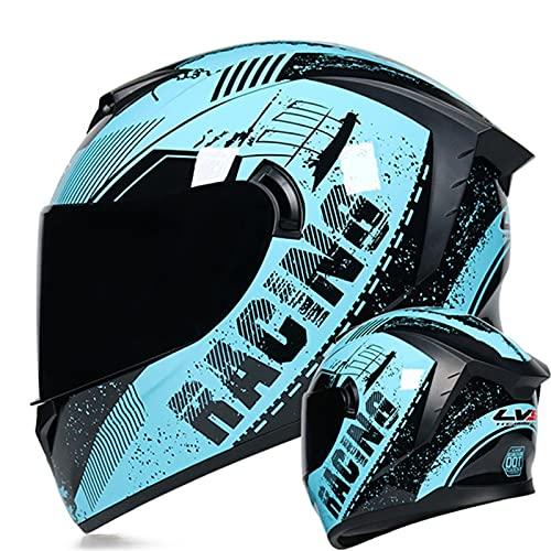 Casco De Moto Con Doble Visera, Homologado DOT/ECE Casco De Moto Integral Scooter Para Mujer Hombre Adultos Con Visera Transparente Y Coloreada, Barboquejo Reforzado Blue 2,M