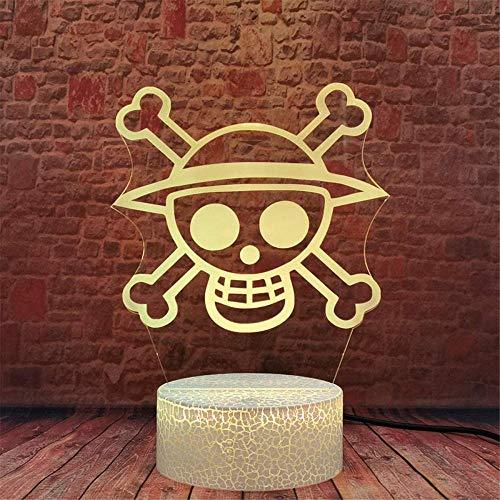 Una pieza logotipo 3D ilusión holograma noche lámpara lámpara 16 colores cambiantes control remoto modelo de muerte creativo dormitorio decoración mejor regalo de cumpleaños idea fresca