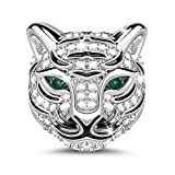 GNOCE'Strong As A Tiger' Royal Tiger Head With Czs 925 Sterling Silver Animal Bead Charm Exquisite Animal Little Tiger Punk Rock Pendant Necklace White Tiger Adorable And The Perfect Addition