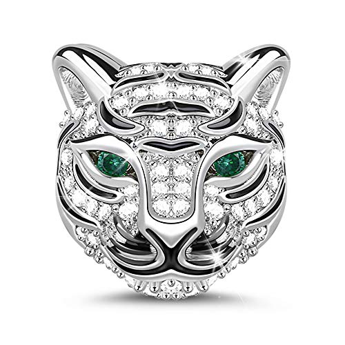 GNOCE Animals head Charms 925 Sterling Silver Bead Charm fit All Bracelets Necklaces Gifts for Pet Lovers (1Tiger)