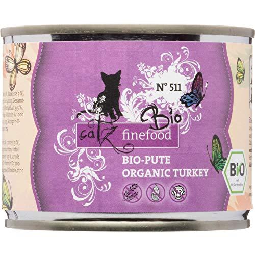 catz finefood Bio Katzenfutter Pute - N° 511 - Nassfutter für Katzen - 6 x 200 g - Ohne Getreide & zugesetzten Zucker (1,2 kg)