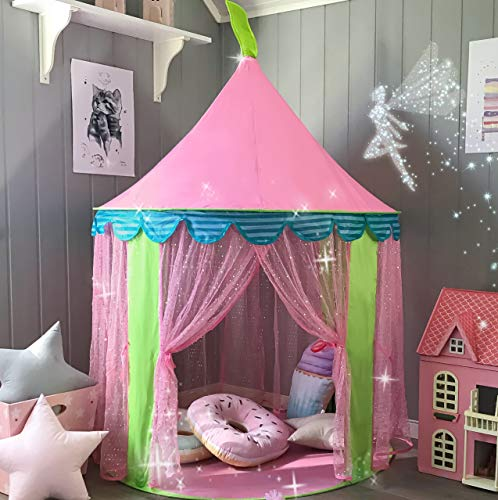 "Carpa para niños Princess Castle for Girls - Glitter Castle Pop Up Play Carpa Tote Bag - Niños Playhouse Toy para juegos de interior y exterior 41 ""X 55"" (DxH)"
