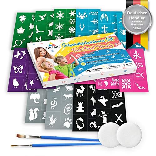 Tritart Abwechslungsreiches 116-teiliges Set Schminkschablonen für Kinder und Erwachsene I 112 Selbstklebende Tattoo Schablonen für Kinder und Eltern, 2 Schwämme, 2 Pinsel