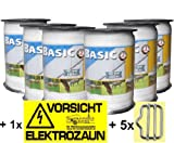 Landkaufhaus Mayer 6X Weidezaunband Weiß 40mm Rolle 200m 8x0,16 Niroleiter + 5 Bandverbinder + Warnschild