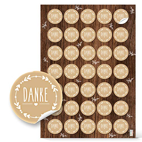 Logbuch-Verlag 140 runde DANKE Aufkleber beige natur weiß Vintage Look Sticker zum Basteln Verzieren Dankeschön Geschenk Dankeskarte Hochzeit Geburtstag Taufe