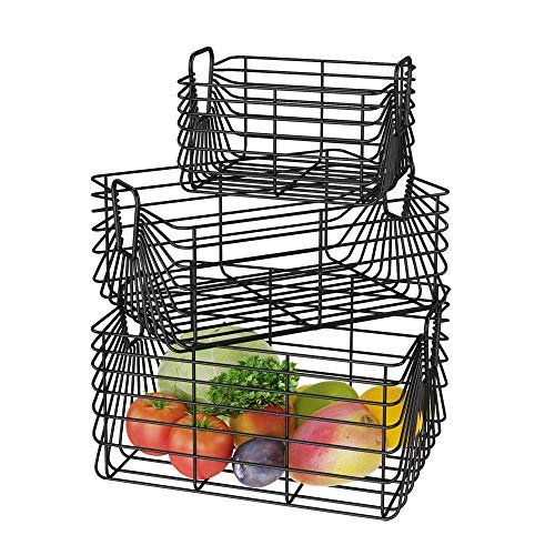 Metal Storage Bins Basket Utility Organizer with Handles for Kitchen Cabinets Countertop Pantry Bathroom Laundry Room Garage Toys Container Shelf Black Set of 3 Large Middle Small