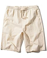SIR7 Men's Linen Casual Classic Fit 11 Inch Inseam Elastic Waist Shorts with Drawstring Beige Medium