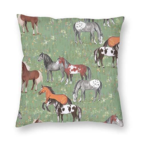 surce kussenslopen gooien kussenslopen paarden in Wildflower veld huisdecoratie 18X18 inch