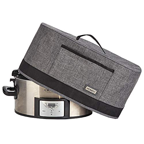 HOMEST Slow Cooker Anti Oil Dust Cover Compatible with Crock Pot 6 7 8 Quart These Cover Have Front Pocket for Recipe and Spoon Grey Patent Pending
