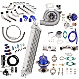 """New Universal T3 T4 T3/T4 T04E Turbo Charger Turbocharger Kit Stage III 350HP Upgrade + Wastegate + 2.5"""" Turbo Intercooler + BOV + Piping kit 10Pcs"""