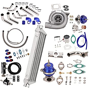 New Universal T3 T4 T3/T4 T04E Turbo Charger Turbocharger Kit Stage III 350HP Upgrade + Wastegate + 2.5  Turbo Intercooler + BOV + Piping kit 10Pcs