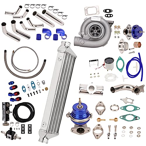 New Universal T3 T4 T3/T4 T04E Turbo Charger Turbocharger Kit Stage III 350HP Upgrade + Wastegate + 2.5' Turbo Intercooler + BOV + Piping kit 10Pcs
