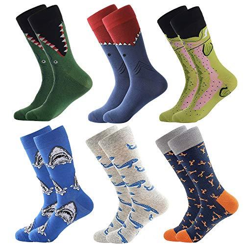 BONANGEL Calcetines Funky de los Hombres, Hombres Ocasionales Calcetines Divertidos Impresos de Algodón de Pintura Famosa de Arte Calcetines, Calcetines de Colores de moda (6 Pairs-Shark 2)
