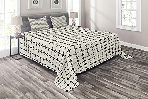 Ambesonne Geometric Coverlet, Pattern with Geometric Star Shapes Contemporary Style Modern Design, 3 Piece Decorative Quilted Bedspread Set with 2 Pillow Shams, King Size, Grey Ivory