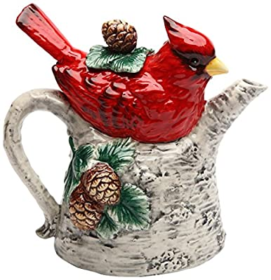 Cosmos Gifts Cardinal on Birch Tree Ceramic Teapot, 5-7/8-Inch