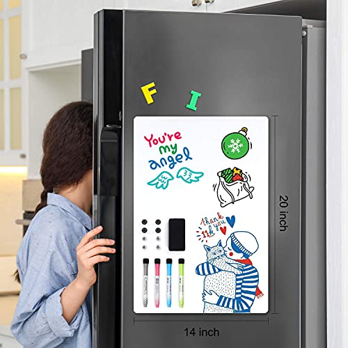 Magnetic Dry Erase Whiteboard Sheet for Fridge: with Stain Resistant Technology - 18x12 - Includes 4 Markers and Big Eraser with Magnets - Refrigerator White Board Organizer and Planner