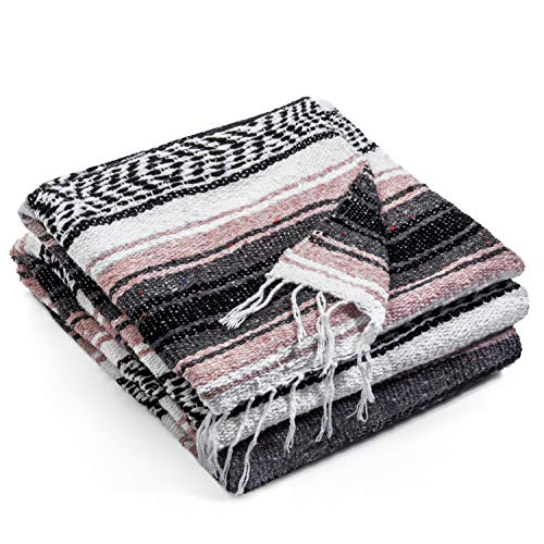 Authentic Mexican Blanket - Premium Yoga Blanket Beach Blanket - Perfect Picnic Blanket, Travel Blanket, Outdoor Blanket - Well Made Yoga Bolster (Pink)