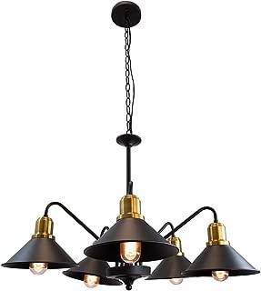 Lumicentro Industrial Kitchen Island Lighting 5-Light Vintage Chandelier Matte Black Hanging Fixture Farmhouse Pendant Light, Adjustable Swing Arm
