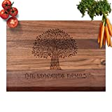 Blue Ridge Mountain Gifts Personalized Cutting Board from Real Wood - Maple, Cherry, or Walnut, 3 Sizes and Many Designs Great Wedding, Anniversary, Housewarming or Real Estate Gift (18 x 12 Walnut)
