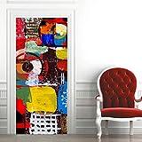"FFIKO 3D Door Sticker 30.3""X78.7' Door Mural Color Art Graffiti 2Pcs Wall Decal Self-Adhesive Waterproof Removable Wallpaper Home Decoration For Bedroom Livingroom Bathroom"