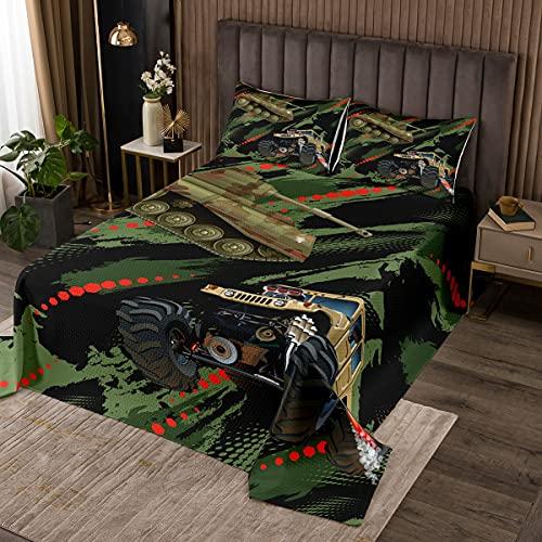 Camouflage Tank Bettdecke 220x240cm für Jungen Schlafzimmer,Bautechnik Fahrzeug Traktor LKW Tagesdecke Set für Kinder Kind Teen,Mode Bettwäsche Bettdecke mit 2 Kissenbezügen,Armeegrün