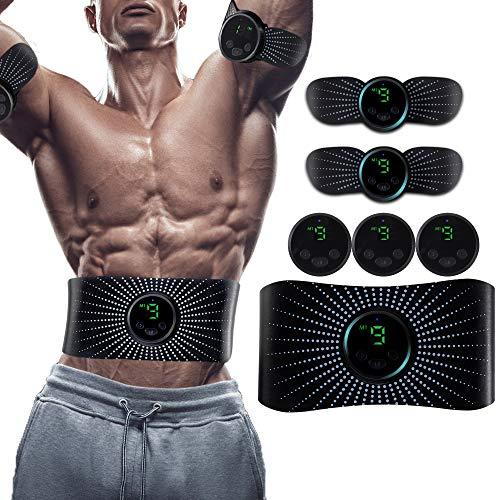 Bauchtrainer Bauchmuskeltrainer elektrisch Muskelstimulator EMS Trainingsgerät mit Led-Anzeige Geeignet Damen & Herren LCD