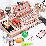 BeebeeRun 25 Pezzi Registratore di Cassa Supermercato Giocattolo per Bambini,Elettronico Supermercato Giocattolo con Scanner Calcolatrice (Rosa)