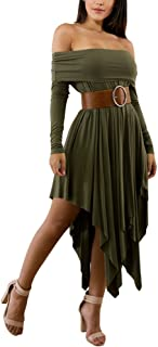 Aro Lora Women's Off Shoulder Strapless Long Sleeve Irregular Hem Loose Dress