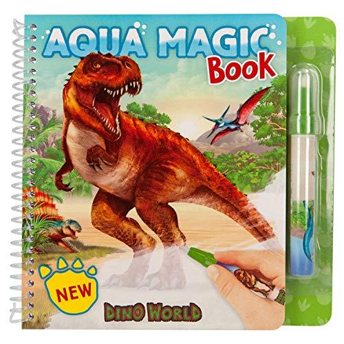 Depesche- Libro para Colorear Dino World Aqua Magic Book, Incluye lápiz, Aprox. 18,5 x 19 x 2 cm, Color carbón (11080)
