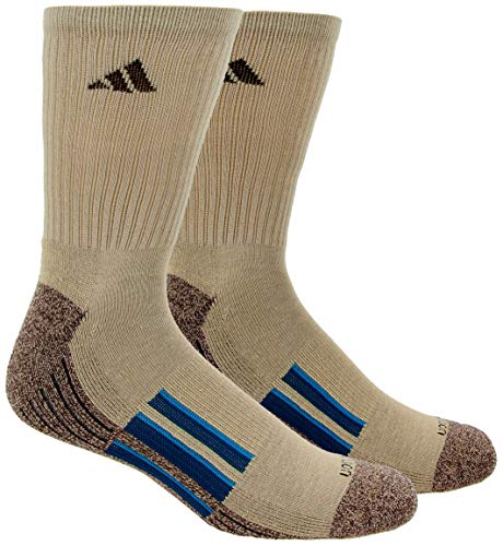 adidas Men's Climalite X II Crew Socks (2-Pack), Khaki/Chocolate Marl/Blue Night/Mystery Petrol Green, Large
