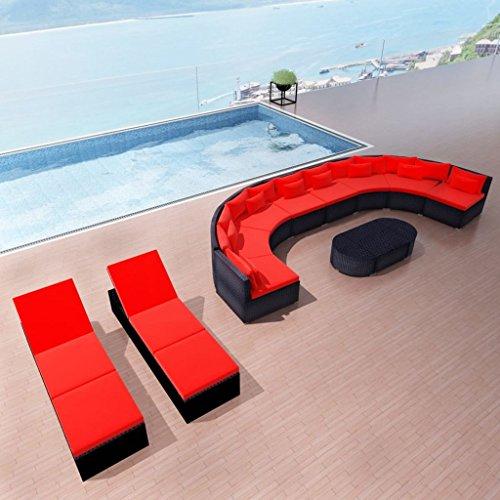 Tidyard XXL Woven Resin Patio/Decking/Garden Furniture Waterproof and Weatherproof Tropical Blue red