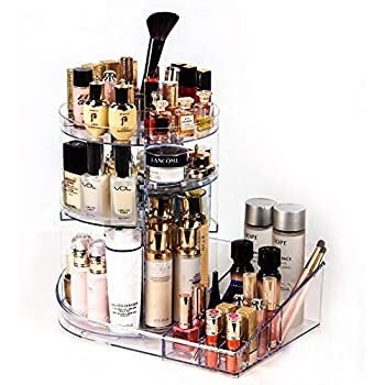 Acrylic Makeup Organizer big tool storage with tray 360 Degree Rotating Clear Adjustable height Cosmetic Storage with Layers Large capacity container