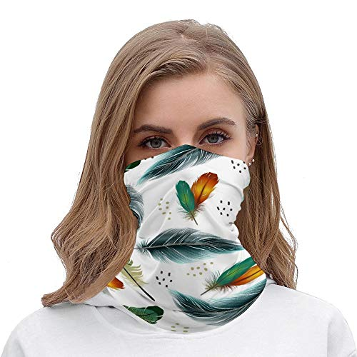 Yilooom Seamless Face Mask Bandanas, Unisex Face Scarf for Outdoor Dust Wind Sun Protection, Beautiful Peacock Feather