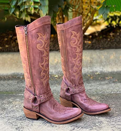 XHHXPY Damen Stiefeletten Cowboy Boots mit Blockabsatz Ankle Boots Stiefeletten Boots Western Cowboystiefel Spitz Zehen Halbhohe Stiefel Stickerei Ritterstiefel,Rosa,38
