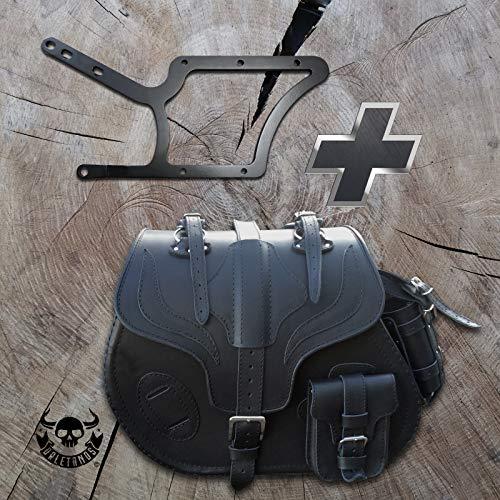 Big Boy Black – Maletín lateral + Soporte para HD Softail hasta 2017 Alforja para sillín Harley Davidson Izquierda Bolsillo lateral Bolsa para motocicleta Bolsa para moto HD Negro Maleta lateral 35 L