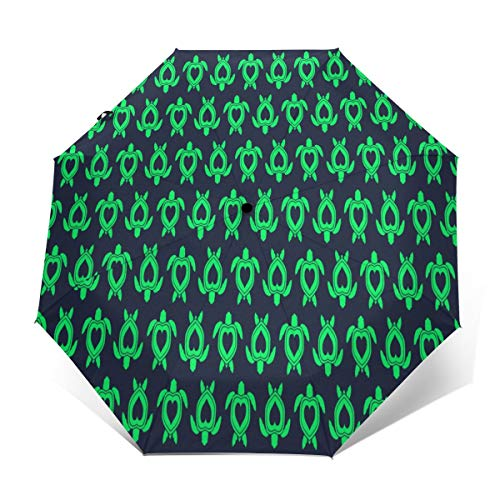 Compact Umbrella Windproof, Travel Umbrella, Lightweight Automatic Umbrellas with UV Protection (Sea Turtle)