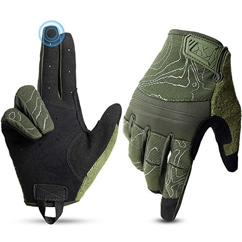 YOSUNPING Touch Screen Shooting Gloves Full Dexterity Tactical Gloves Men for Airsoft Paintball Military Army Driving Motorcycle Hunting Work Protection Guard Gear Garden Full Finger Gloves Green XL