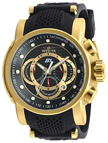 Invicta Men's S1 Rally Stainless Steel Quartz Watch with Silicone Strap, Black, 26 (Model: 19327)