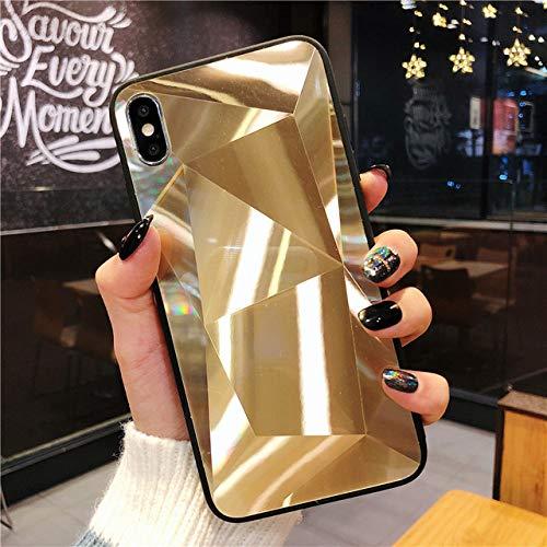 YIEBAI Fundas cartucheras para móviles para Funda de Textura de Diamante 3D para iPhone 7 Fundas para iPhone 6 6s 7 8 Plus X XS MAX XR Funda Estuche Delgado Funda de teléfono con patrón de Espejo, D