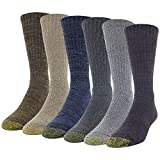 Gold Toe Harrington Crew, 6 Pairs, Oxblood, Grey, Charcoal, Midnight, Khaki, Chocolate, Shoe Size: Mens 6-12.5