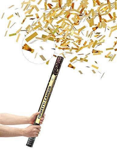 10 XXL 60cm Konfetti Shooter Gold | Goldregen mit Extra lautem Knall | Konfettikanone mit Hoher Schussweite
