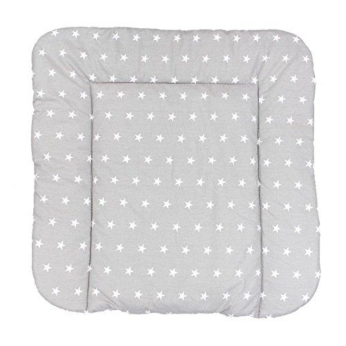 TupTam Baby Wickeltischauflage mit Baumwollbezug Gemustert, Farbe: Sterne Grau, Größe: 75 x 85 cm