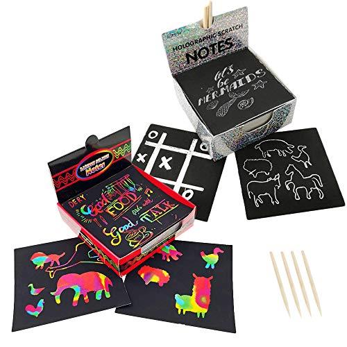 200 STUKS Krassen Kunst Kit voor kinderen,DIY Krassen Schilderen Schetsen Kaart Magisch kladpapier met 4 stylus en sjabloon, educatief kunstcadeau