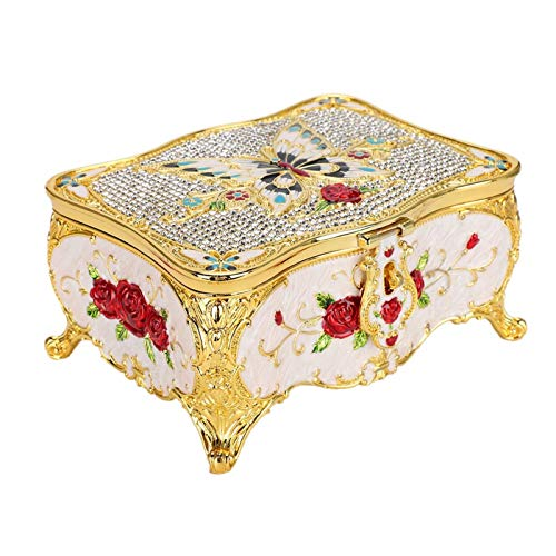 FOKH Caja de Almacenamiento de joyería, Caja de joyería con Relieve con Cubierta de Espejo antioxidante, Escritorio Vintage para colección Familiar, exhibición de Tienda, decoración del hogar