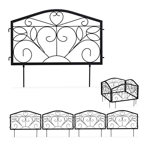 Relaxdays Beetzaun, 4-teilige Beetumrandung für Garten, Steckzaun Eisen, antik, Ornamente, HxB: 33 x 225 cm, schwarz