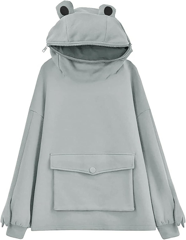siilsaa Hoodies for Women Teen Girls Cute Frog Hooded Sweatshirts Zipper Mouth Loose Long Sleeve Pullover Tops Shirts