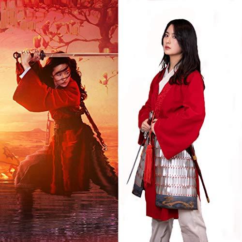 Rubyonly Disfraces de película Mulan Tabardo de Cosplay del Vestido de la Hembra Adulta Vestido Rojo de Traje de Halloween Disfraces de Carnaval,XS