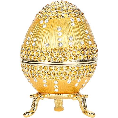Huevo Estilo Fabergé Dorado Pintado a Mano Huevo Fabergé Vintage Huevo Fabergé esmaltado con Diamantes Brillantes para Caja de baratijas de Huevos de Pascua